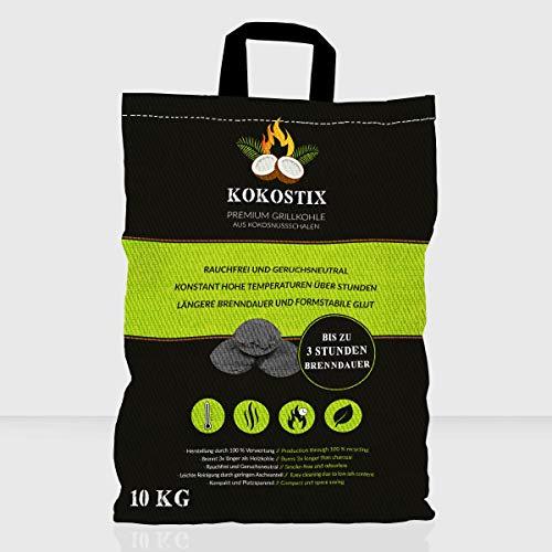 V2 FOODS Kokostix | 10 kg Premium Grillkohle aus Kokosnussschalen | Kokoskohle | heiß | formstabil | Lange Brenndauer