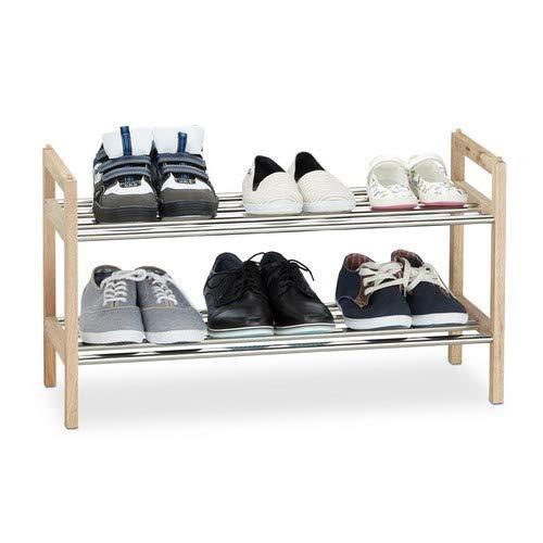 Relaxdays Schuhregal Walnuss 12 Schuhe, Edelstahl Schuhablage, stapelbarer Schuhständer, HxBxT: 41 x 72 x 27 cm, Natur