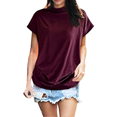 YWLINK Damen Sommer Elegant Rollkragenpullover Lose ÄRmellos Unterhemd Tops Plus Size Kurzarm Shirt (Rot,XXXXL)
