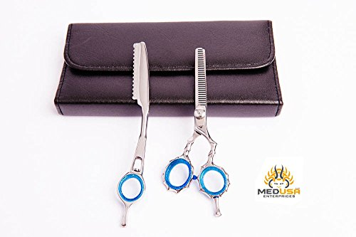 """Price comparison product image Professional Polish Japanese Stainless Steel Barber Hair Thinning / Texturizing Scissor & Thinner Razor set 5.5"""" With Free Packing"""