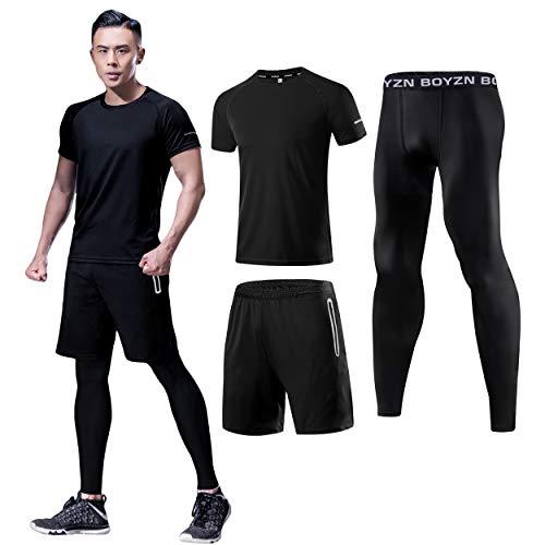 メンズ コンプレッションウェア 3点セット トレーニングウェア 通気 防臭 スポーツウェア ランニングウェア 半袖シャツ ハーフパンツ タイツ 吸汗速乾 ブラック Black-3P-3XL