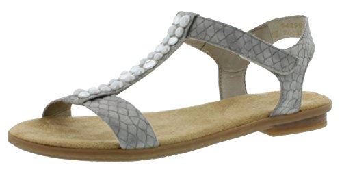 Rieker 64299 Damen Sandalen, Sandaletten, Sommerschuhe grau (Cement / 40), EU 39