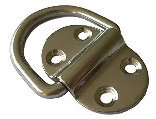ROESTVRIJ STAAL sjoroog, verzonken met D-ring, plaat met beugel/oog, inklapbaar V4A, 53x36x9mm