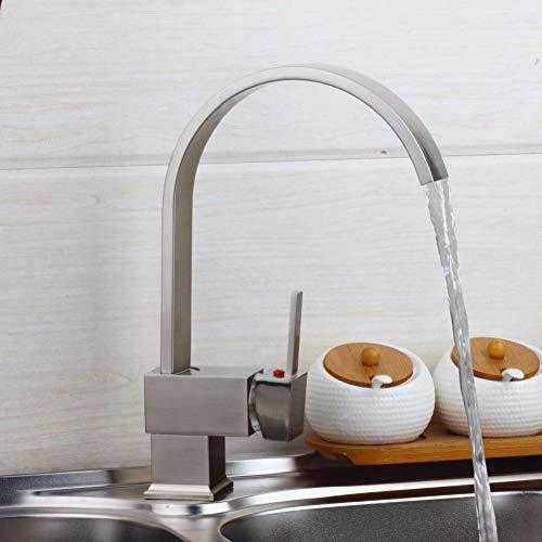 l cepillado cocina giratoria lavabo fregadero mezclador grifo grifo de latón sólido lavabo giratorio grifo de base cuadrada grifo monomando