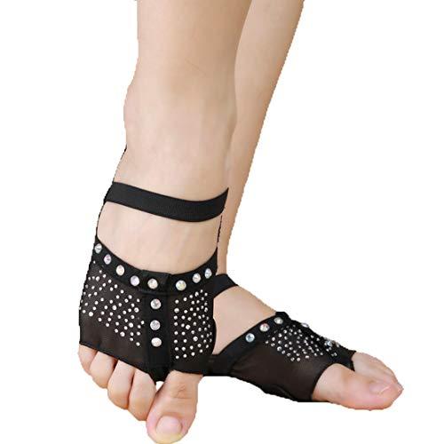Calcifer - Calcetines de Danza para el Vientre, Color Blanco y Negro, Negro, Medium