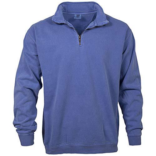 Comfort Colors Men's Adult 1/4 Zip Sweatshirt, Style 1580, Flo Blue, 2X-Large