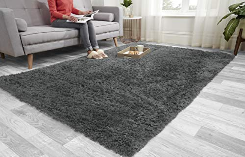 Super Soft FLUFFY Shaggy Rug Anti-Slip Carpet Mat Living Room Large Area Rugs Modern Floor Bedroom Extra Large Size Non Shedding (Grey, 160cm x 230cm (5.5ft x 7.5ft))