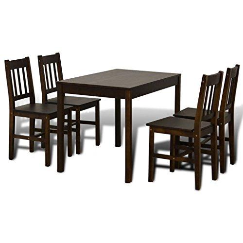Goliraya Conjunto de Mesa y 4 sillas de Comedor | Alto Grado de Confort | Tablero de la Mesa Robusto, Mesa de Comedor y 4 sillas Madera marron