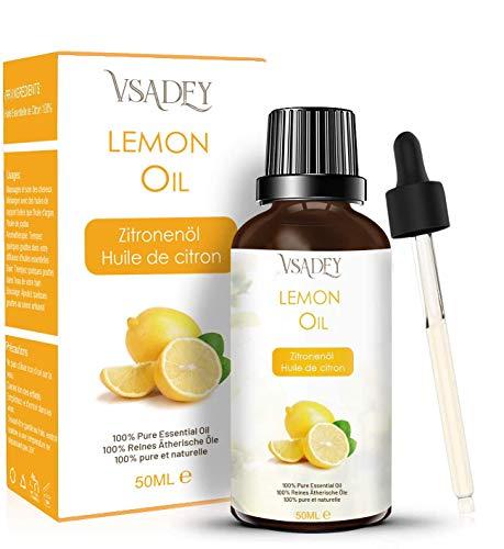 VSADEY Huile Essentielle de Citron 50ml, Huile de Citron 100% Pure, Naturelle et Végan, Huile de Lemon Aromathérapie pour Diffuseur/Massage/Soins de la Peau/Supprimer l'odeur