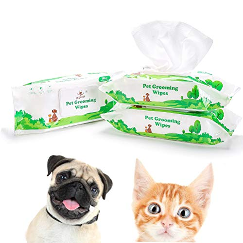 """PUPTECK Pet Grooming Wipes for Dogs & Cats - 8.3""""x8"""" Hypoallergenic Cleaning Wipes for Ears/Eyes/Face/Butt/Paw/Body, Fragrance-Free, Earth-Friendly, 80 Counts per Pack, 3 Packs"""