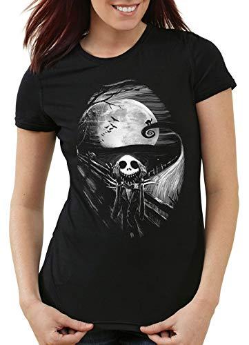 style3 Munch Nightmare Camiseta para Mujer T-Shirt Grito Christmas Before Navidad, Talla:L