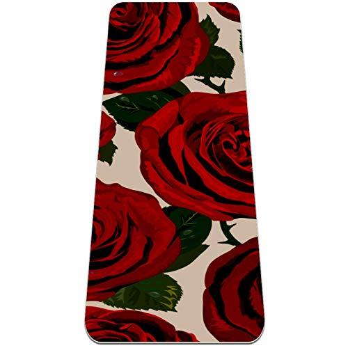 Eslifey Esterilla de yoga de flores rojas frescas florecientes, gruesa, antideslizante, para mujeres y niñas, tapete de ejercicio suave para pilates (72 x 24 pulgadas, 0,6 cm de grosor)
