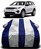 AUCTIMO® Prime Quality 190T Imported Fabric Car Cover for Land Rover Discovery Sport with Ultra Surface Body Protection (White Stripes)
