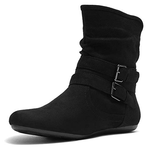 Herstyle Lindell Women's Fashion Flat Heel Calf Boots Side Zipper Slouch Ankle Booties Black 8.0