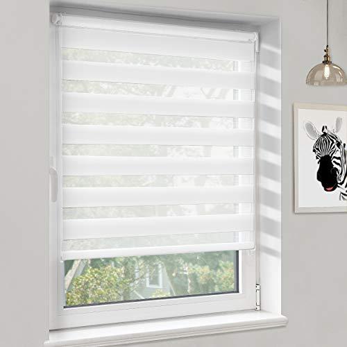 Sanfree Doppelrollo Duo Rollo Klemmfix ohne Bohren, Seitenzugrollo für Fenster & Tür, Sonnenschutz Klemmrollo, Transparentes und undurchsichtiges Zebrarollo, Weiß 50x100cm (BxH)