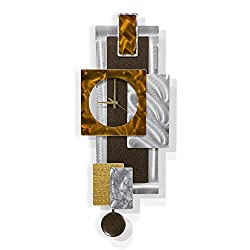 Statements2000 Modern Brown Metal Wall Clock - Home & Office Decor Abstract Design Wall Sculpture - Tectonic by Jon Allen - 32-inch