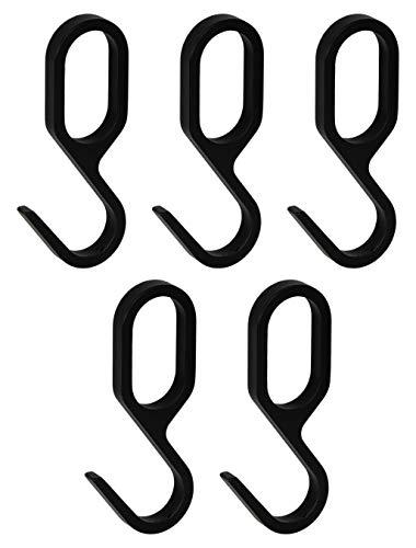 Gedotec Design Einhängehaken für Schrankstange Oval Schrankrohr | S-Haken Metall schwarz matt | Garderoben-Haken für Kleiderstange 30 x 15 mm | 5 Stück - Kleiderhaken Aufhänger für Möbel-Stangen