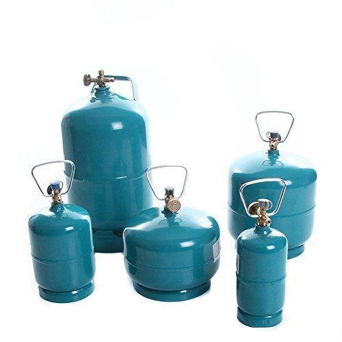 rg-vertrieb Leere befüllbare Gasflasche Propan Butan Camping Grill Gasbrenner Kochen Flasche wiederbefüllbar 0,5kg 1kg 2kg 3kg 5kg Umfüllschlauch Adapter wählbar (Gasflasche 2kg)