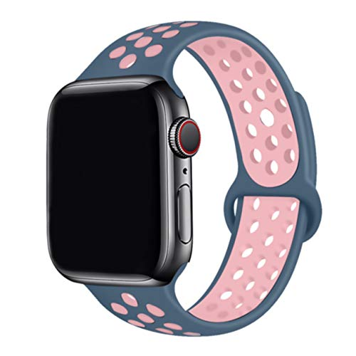 Yadoo Compatible with Apple Watch Band 44mm 42mm 40mm 38mm,Series 5 Waterproof Durable Breathable Soft Silicone Replacement Wrist Band for iWatch Series 5/4/3/2/1, S/M M/L for Women/Men