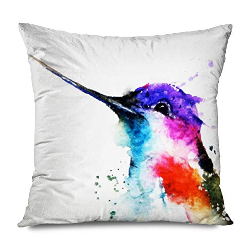 FAREYY Animal Throw Pillow Cover Watercolor Painting Pink Flowers Floral Hummingbirds Spring Patio Square Pillowcases Cushion Cover for Sofa, Couch, Bed and Car, 18 x 18 Inches