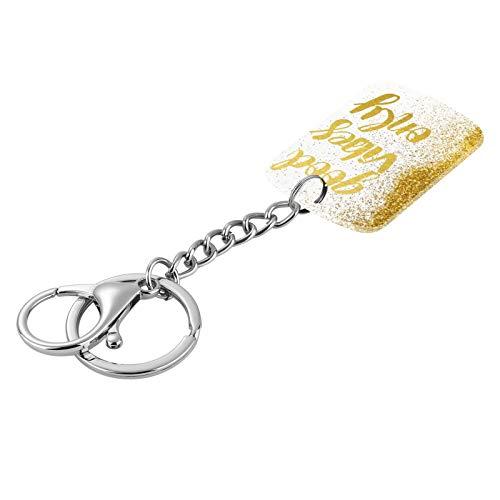 FAUNOW Good Vibes Porte-clés en or blanc pour femme et fille