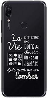 ZOKKO Case for Xiaomi Redmi Note 7 La Vie C'est comme Une Boite de Chocolat Transparent with White Ink
