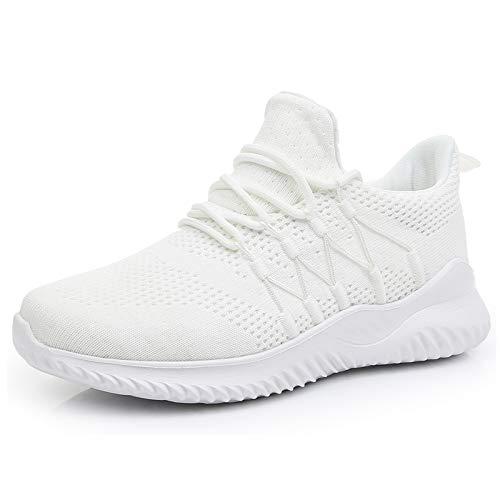 Akk Womens Slip On Tennis Shoes Memory Foam Walking Lightweight Sports Gym Fitness Running Sneakers White US 8/EU 39