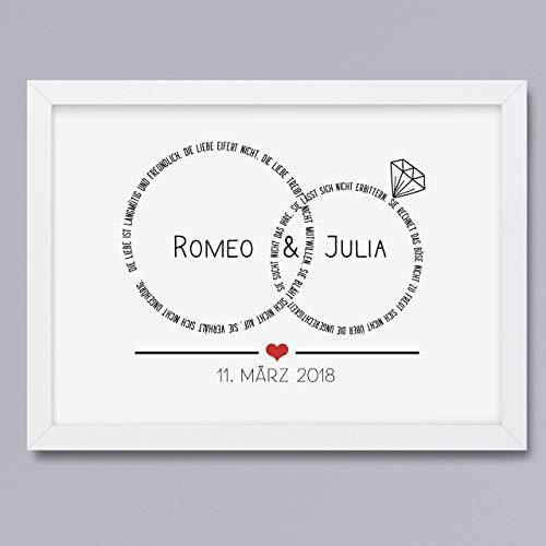 Hochzeitsgeschenk Kunstdruck Eheringe personalisiertes Bild Geschenk für Traumpaar Hochzeit optional mit Rahmen