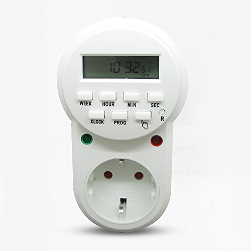 Elektronische Zeitschaltuhr Steckdose, Digitale Zeitschaltuhr Zyklus Stunde Minute Sekunde, Zeit Socket mit LCD Display Zufallsschaltung 12/24 Stunden 7 Tage, Energieeinsparung, CE Zertifizierung