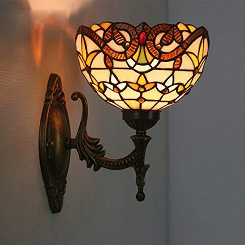 HDCW Tiffany Wandleuchte LED-Leuchter-Buntglas-Korridor Licht Spiegel-Front-Lampe E27 Galerie Wandleuchten Passage Flur Licht,A3