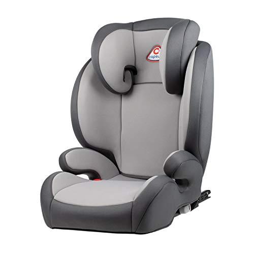 capsula® Kindersitz 2in1 mit abnehmbarer Rückenlehne 15-36 kg Isofix Autokindersitz Sitzerhöhung (grau)