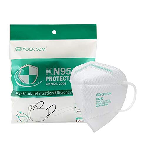 Powecom KN95 Face Mask on FDA EUA List, 10 Pack Protective Disposable Masks, Protection Against PM2.5 from Fire Smoke, Dust for Adults, Men, Women, Essential Workers - 10 Pcs