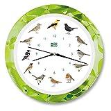 KOOKOO Singvögel Quarzwerk Leaf, Die Singende Vogeluhr, ist eine Uhr mit 12 heimischen Singvögeln und echten, natürlichen Vogelstimmen, Wanduhr mit Lichtsensor