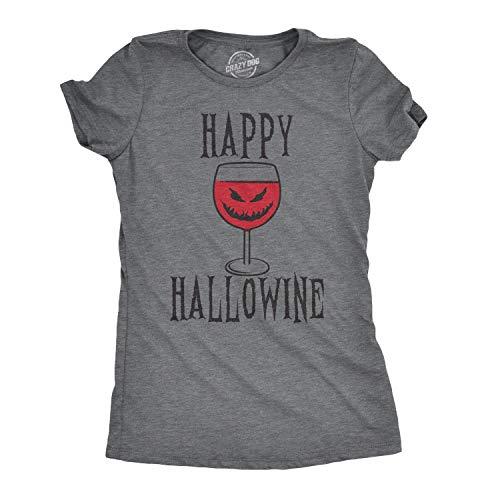 Crazy Dog Tshirts - Happy Hallowine Funny Halloween Wine Glass Drinking Tshirt For Woman (Dark Heather Grey) - 3XL - Camiseta para Mujer
