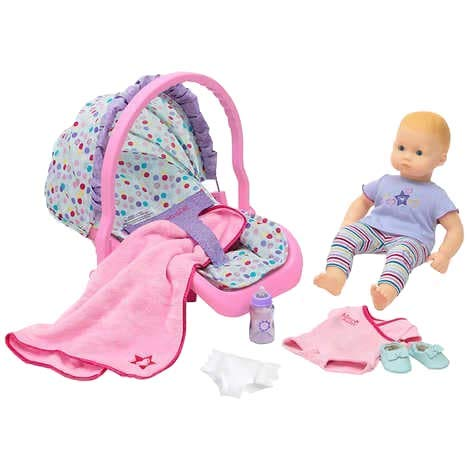 American Girl Bitty Baby Doll Blond with Blue Eyes, Plus Travel Seat and Accessories