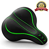 Xmifer Oversized Bike Seat, Comfortable Bike Seat - Universal Replacement Bicycle Saddle - Waterproof Leather Bicycle Seat with Extra Padded Memory Foam - Bicycle Seat for Men/Women (Green)