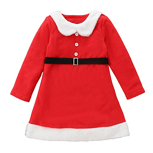Alunsito Conjunto de ropa de fiesta de Navidad para bebés y niñas, vestido de princesa con cinturón para otoño e invierno de Navidad, Rojo1, 3-4 Años