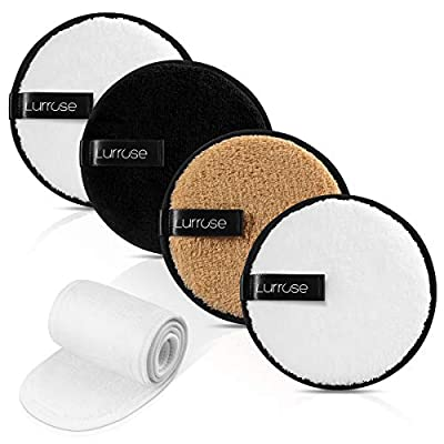 "Lurrose Reusable Makeup Remover Pads-4Pack with Spa Facial Headband Included, Washable Makeup Removal Cloth, Chemical Free for Facial Cleansing, 4.5"" Dia"