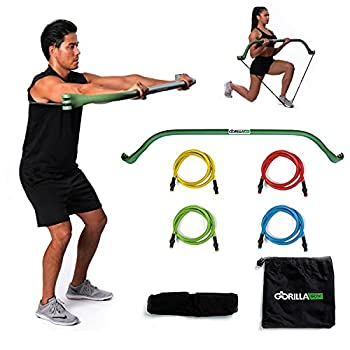 Gorilla Bow Portable Home Gym Resistance Band System   Weightlifting & HIIT Interval Training Kit   Full Body Workout Equipment  Green