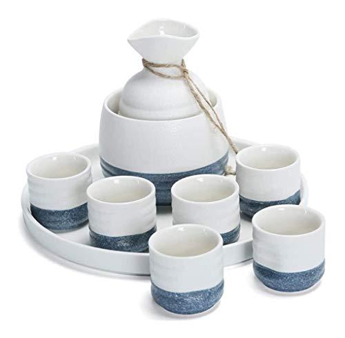 Pintados a mano de cerámica sake japonés Set 8 piezas Sake Pot Set caliente cerámica japonesa Sake sistema del vino de cerámica Set Blue conjunto del motivo, cerámica material, 6Sake Copas, 1 botella