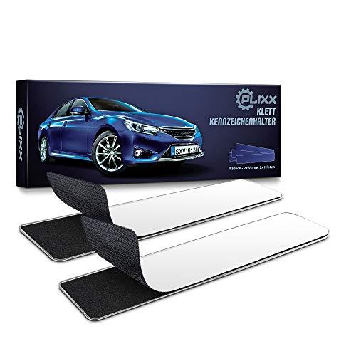 PLIXX – Premium Kennzeichenhalter Klett Set – 2 x rahmenlose Nummernschildhalterung Auto KFZ – Selbstklebend & wetterfest mit speziellem Kleber