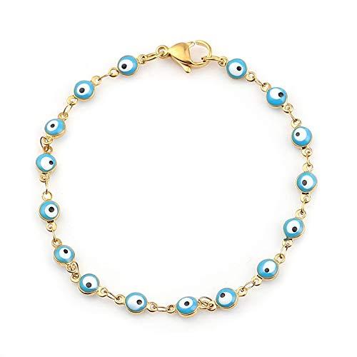 shangwang Fashion Stainless Steel Bracelets Gold Blue Red Evil Eye Enamel Bead Bracelet Jewelry For Women Men Gifts 18.7cm Long, 1 Pc SkyBlue
