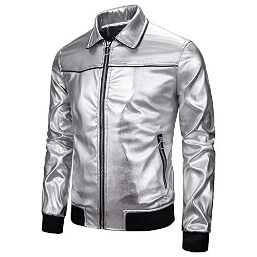 For Sale! WYTong Men's Coat,Nightclub Bright Solid Color Stitching Lapels Fashion Jacket with Pocket...