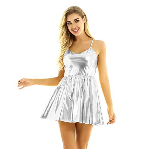 CHICTRY Vestido Manga Largo para Mujer Plisada de Danza Brillante Metálico Vestido de Fiesta Partido Club Noche Disco Dancewear Plateado 2 S