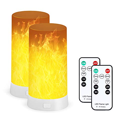 Flame Effect Light, Fire Flicker Night Light USB Rechargeable Flame Table Lamp 2 Pack with Remote and Timer, LED Dimmable 3 Modes Flame Lantern Lamp for Home Party Bar Camping
