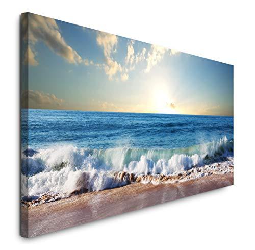 Paul Sinus Art GmbH Strand mit Wellen 120x 50cm Panorama Leinwand Bild XXL Format Wandbilder Wohnzimmer Wohnung Deko Kunstdrucke