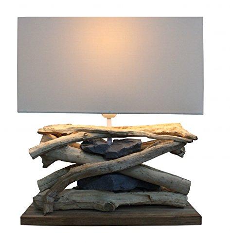 """*Design Tischlampe """"Baltic Sea"""" aus Treibholz und Steinen (Hell)*"""
