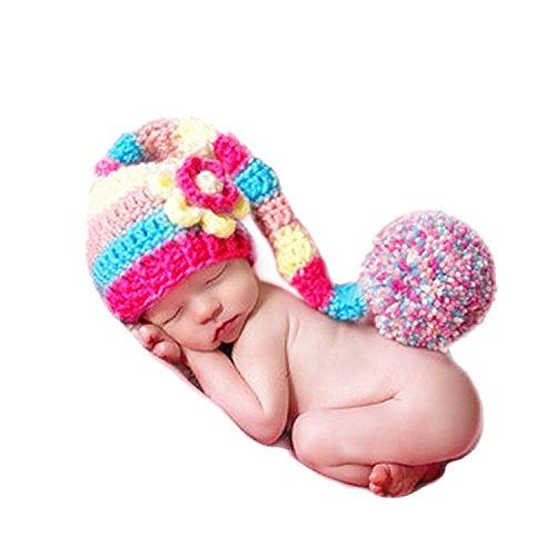 AKAAYUKO Bebé Recién Nacido Hecho A Mano Crochet Foto Fotografía Prop (Cola Larga Sombrero)