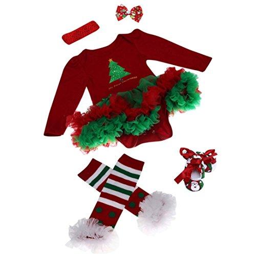 kingko® 4pcs Nouveau-né de Noël Infant Baby Girl Romper Tutu Robe Bandeau Chaussures Chaussettes Ensembles Tenues Vêtements Bodysuit (3-6 M ois)
