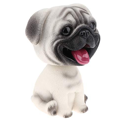 MagiDeal Hund Wackelfiguren für Auto - Hunde Welpe mit Wackelkopf - Wackelhund - Dekofigur Auto Innendekoration - Mops